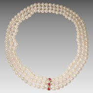 """Divine Cultured Akoya White Pearl Necklace with Ruby Diamond 14K Y- Gold Clasp - Set of Triple Choker - 16"""" 17"""" & 18"""""""