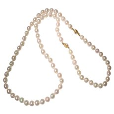 """Amazingly A Set of Cultured Akoya Pearl Necklace & Bracelet - 2 Fancy 14 KT Yellow Gold Clasps Connected or Separated - Great Pearls Natural Rosy White - 24"""""""