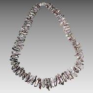 Amazing Black Keish Biwa Fresh Water Pearl Necklace -14KT W- Gold Clasp - Bulk Chunks - Natural Peacock Black