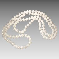 "Akoya Cultured Pearl Necklace Endless Classic White 7.5 MM - 36"" Opera Length - Vintage 1970s"