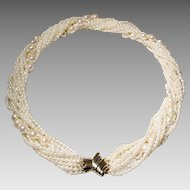 "Elegantly Mixed Akoya Pearl & Biwa Pearl Necklace - Tri-Colored 14KT Gold Clasp - 19"" Vintage"