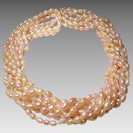 """Set of 4 of Biwa Fresh Water Pearl Necklace - Various Pink Mixed - Natural Pearls 36"""""""