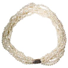 All-Purpose Cultured Fresh Water Biwa Pearl Necklace 14 KT Two-Toned Clasp - Classic White 18""