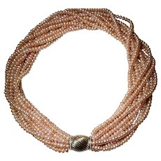 Stunning Load Cultured Fresh Water Biwa Pearl Necklace 14KT Y-Gold Diamond Clasp - Natural Mauve Color of 9 Strands -20""