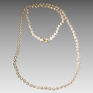 """Opulent Cultured Akoya Pearl Necklace w/ Ruby & 14KT Y-Gold Clasp - Rosy White 7 MM - Opulent Length 34"""""""