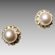 Precisely Perfect South Sea Pearl Earrings w/ Diamonds 18 KT Yellow Gold - Slate Gray Pearls Round 11.5 MM - Victorian Style