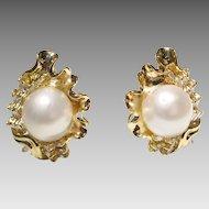 Sea-Shell Floral South Sea Pearl & Diamond Earrings 18 KT Y-Gold - Fine Pearls 14 MM & Baguette Diamonds - Vintage 70's Set