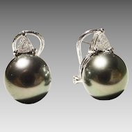 Top Gems Tahitian Black Pearl Diamond Earrings 18K W-Gold - 10 MM - Most Elegant