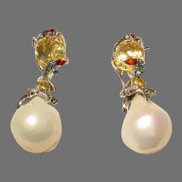 Beautiful South Sea Pearl & Multi-Colored Stones - Danglings of Silver