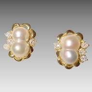 Impressive South Sea Pearl & Diamond Earrings 18 KT Yellow Gold - South Sea Keshi Baroques - Glistening Unique