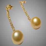 Extra Danglers Rich Golden South Sea Pearl Diamond Earrings 18 KT Yellow Gold - 10 MM
