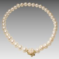 "Magnificent Beloved Pearls South Sea Pearl Necklace 14KT Gold & Pearl Clasp - Classic White 12.5 MM 18.5"" - Vintage 1970's"