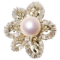 Luscious Top Gems South Sea Pearl Diamond Brooch /Pendant /Slide 18K YG - Florae Motifs Baguettes