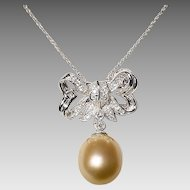 Luscious Rich Golden South Sea Pearl Diamond Brooch /Pendant /Slide 18KT W- Gold - Floral Ribbon Bow