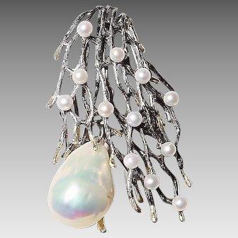 Mystic Black Sticks of South Sea & Akoya Pearl Brooch - Pendant /Slide - Silver Vintage 60s