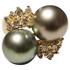 Gems Tahitian Black 2-Pearl Ring with 18K Y-Gold - Whimsy Beauty