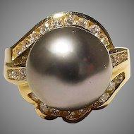 Declasse Tahitian Black Pearl Ring Diamonds Surrounded 18K Y-Gold - Lace Filigree Gold Setting