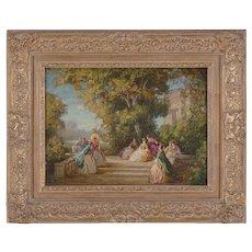 Lovely classical scene oil by Joseph Tomanek (1889-1974)