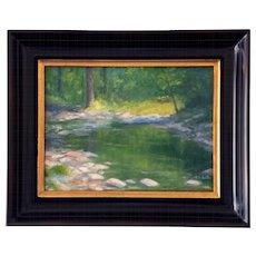 Woodland stream scene oil by Bryan Roberts (American, b. 1955)