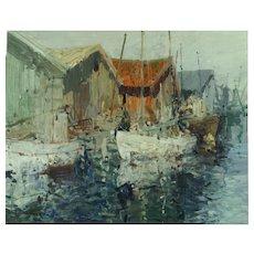 Beautiful impressionist harbor scene by Hugo Ofverstrom (1900-1973)