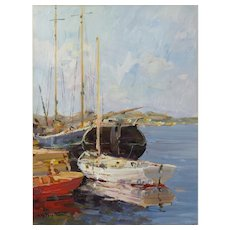 Atmospheric Harbor Scene by Hugo Ofverstrom (1900-1972)