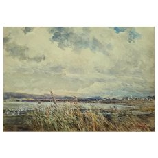 Atmospheric Watercolor of Poole Harbour by Frederick Whitehead (1853-1938)