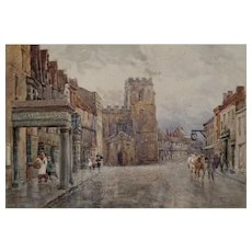 Atmospheric Watercolor of Dorset Town by Frederick Whitehead (1853-1938)