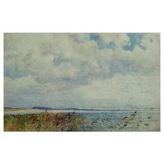 Expansive Coastal Scene Painting by Frederick Whitehead (1853-1938)
