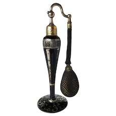 Striking DeVilbiss Perfume Atomizer in Ebony with Silver Overlay