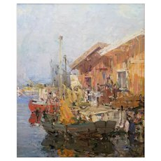 Dynamic Harbor Scene by Hugo Ofverstrom (1900-1973)