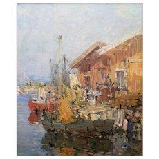 Dynamic Harbor Scene by Hugo Ofverstrom (1900-1973)