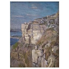 Bold Painting of Cliffs in Dorset by Frederick Whitehead (British, 1853-1938)