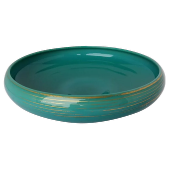 Cambridge Glass Low Jade Bowl with Gold Decoration