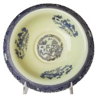 Rare Cambridge Ivory Bowl With Blue Willow Etch