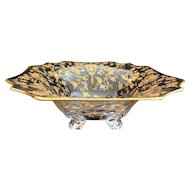 Lovely Cambridge Glass Gold-encrusted Rosepoint Bowl