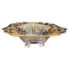 Lovely Cambridge Glass Gold-encrusted Rosepoint Bowl