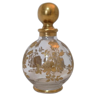 Westmoreland Perfume or Cologne Bottle With Gold-encrusted Roses