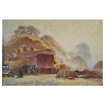 Expansive Haying Scene by Frederick Whitehead (1853-1938)