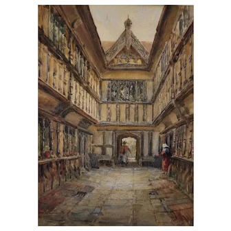 Watercolor of Ford's Hospital, Coventry by Frederick Whitehead (1853-1938)