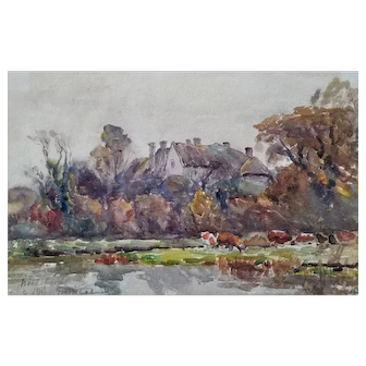 Watercolor of Dorset Landscape by Frederick Whitehead (1853-1938)