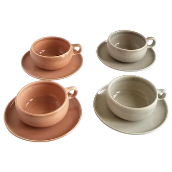 Russel Wright American Modern Flat Cups and Saucers
