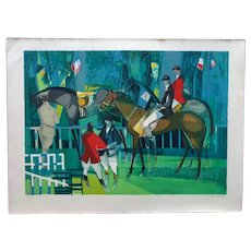 Bold Paddock Scene Lithograph by Camille Hilaire (French, 1916-2004)