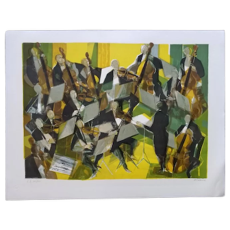 Dynamic Artist's Proof Modernist Orchestra Scene by Camille Hilaire (French, 1916-2004)