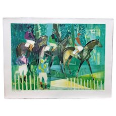 Modernist Artist's Proof Equestrian Scene by Camille Hilaire (French, 1916-2004)