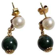 Lovely Pair of Jade and Cultured Pearl Earrings