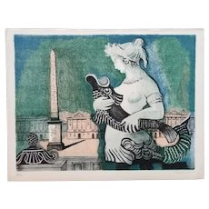 Rare Paris Scene 1955 Lithograph by Alice Halicka (Polish, 1895-1975)