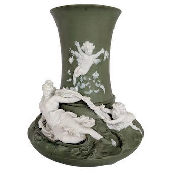 Fine Volkstedt Green Jasperware Vase with Classical Motifs