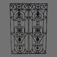 Antique French Iron Grille Panels Pair - Architectural Salvage
