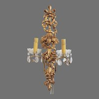 Vintage Italian Wood Florentine Wall Sconce with Prism Crystals~ Electrified Wall Light