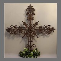 Antique French Iron Cross Fragment with Hearts - Religious Wall Decor - Religious Salvage